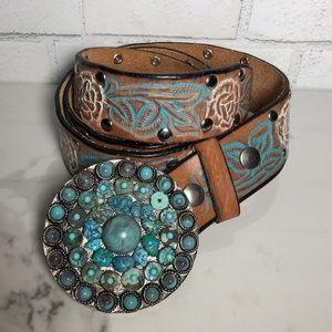 LEATHEROCK Turquoise Genuine Leather Western Belt